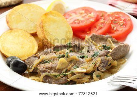 fried liver pork - Portuguese traditional food