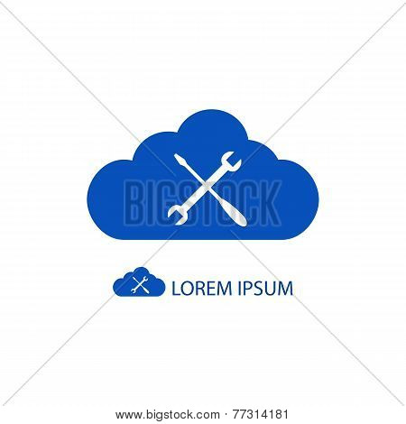 Blue cloud with settings sign