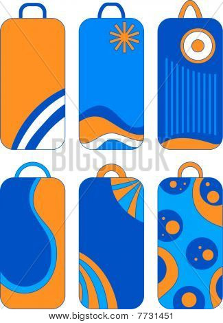 Blue, orange and white vector tags or labels