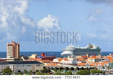Willemstad, Curacao - November 17th, 2014: MV Ventura at the port of Willemstad. The Grand-class cruise ship is owned by Carnival UK and operated by P&O Cruises.
