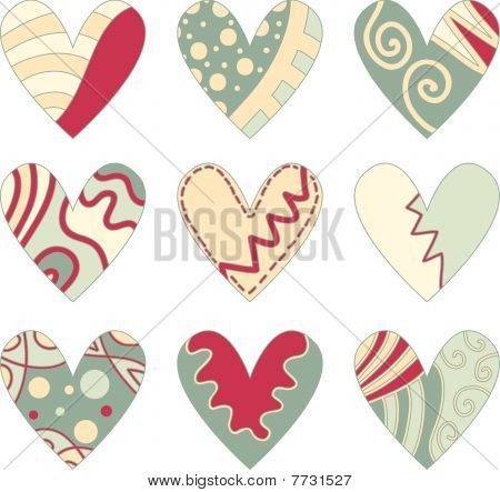 Red, green and beige vector heart collection