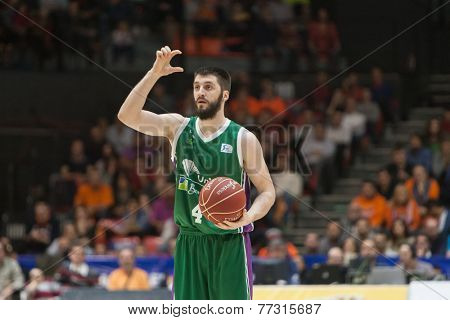 VALENCIA, SPAIN - NOVEMBER 23:  Markovic during Spanish League game between Valencia Basket Club and Unicaja Malaga at Fonteta Stadium on November 23, 2014 in Valencia