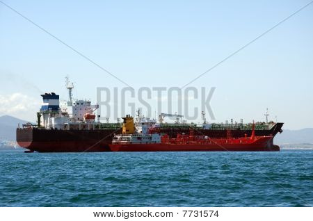 A chemial tanker being refuelled