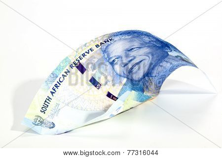 Blue South African Rand Bank Note On White