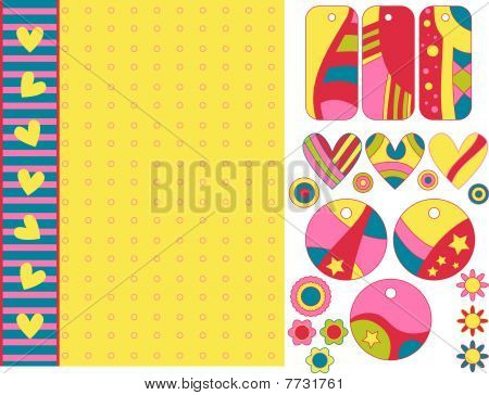 Colorful vector background, tags, hearts and flowers