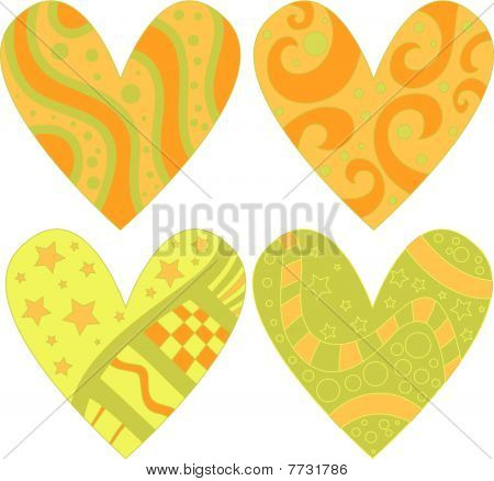 Yellow, orange and green hearts