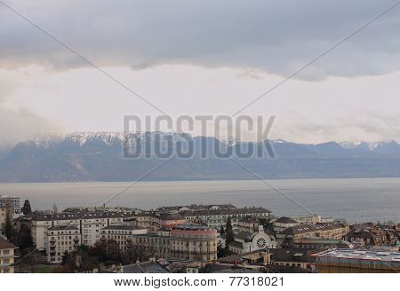 Town On The Shore Of The Lake. Lausanne, Shores Of Lake Geneva.