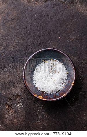 Food Coarse Lemon Provencal Salt On Dark Background