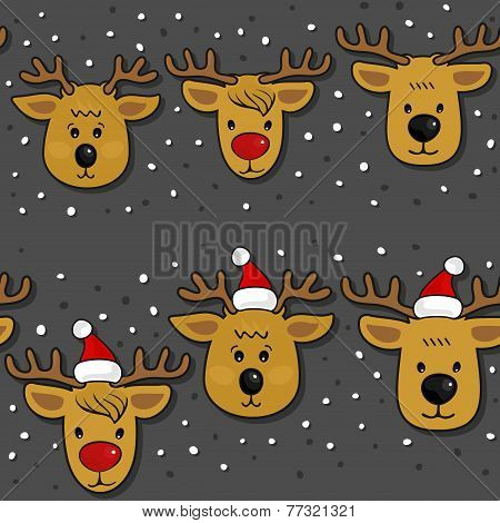 Reindeer in Santa Claus hats Christmas horizontal border set on dark