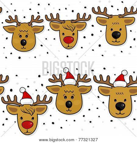Reindeer in Santa Claus hats Christmas horizontal border set on white