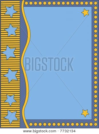 Blue background with stars and dots