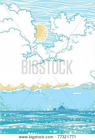 Seascape with clouds, shiny day. Vector