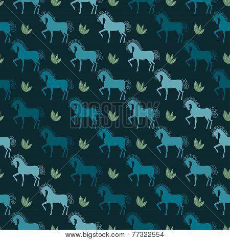 Blue Horses Seamless Pattern Vector Background On The Dark Cover