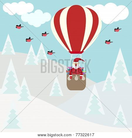 Funny Cartoon Winter Holidays Card With Santa Flying In Hot Air Balloon