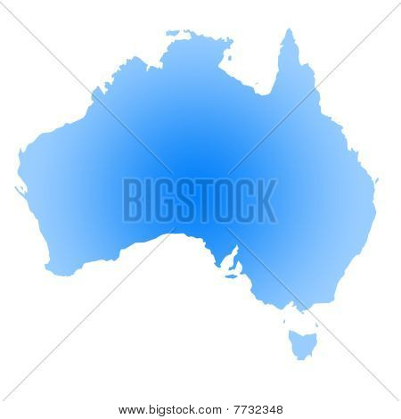 Gradient Blue Map Of Australia