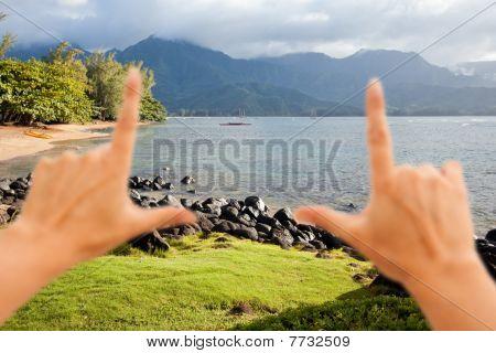 Hands Framing Beautiful Hanalei Bay