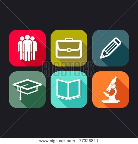 flat icons for web and mobile applications with business, education signs
