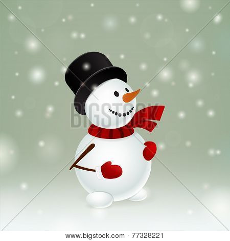 Snowman With Red Mittens