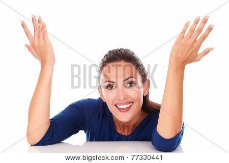 Happy Brunette With Hands Gesturing Excitement