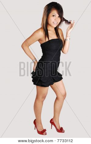 Asian Girl In Black Dress.