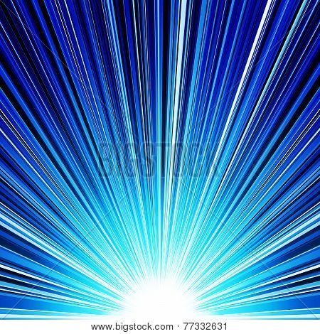 Abstract blue striped burst background