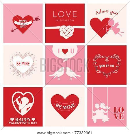 Set of Love Cards for Valentine's Day - Hearts, Frames, Cupids - in vector
