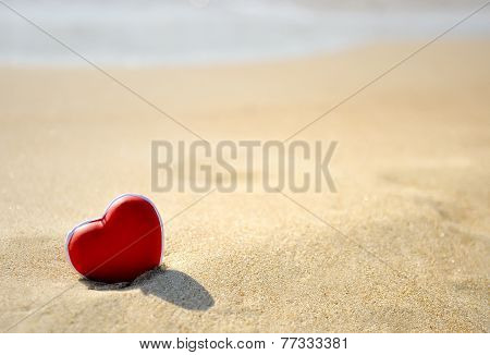 Red Heart On Sea Beach  - Love Valentine's Day Concept