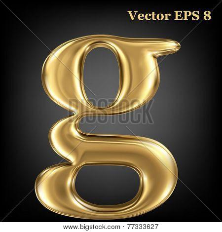 Golden shining metallic 3D symbol lowercase letter g, vector EPS8