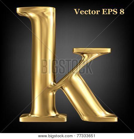 Golden shining metallic 3D symbol lowercase letter k, vector EPS8