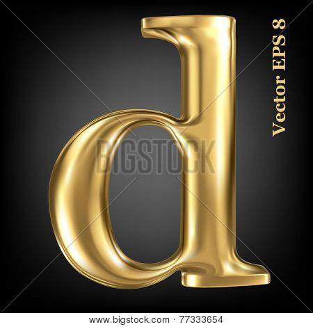 Golden shining metallic 3D symbol lowercase letter d, vector EPS8