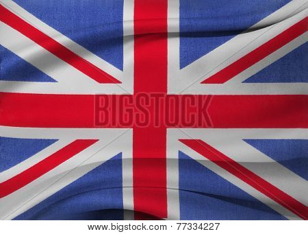 Closeup of silky Union Jack flag