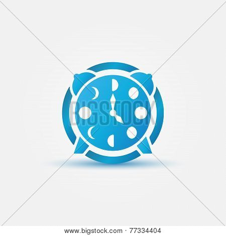 Moon phases alarm clock blue icon