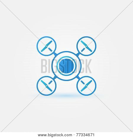 Quadrocopter blue vector icon - drone symbol