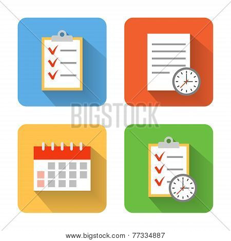 Flat Schedule Icons. Vector Illustration