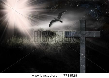 Cross And Bird In Landscape