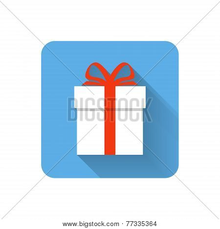 Flat Gift Icon. Vector Illustration