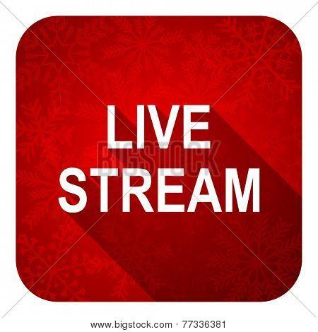 live stream flat icon, christmas button