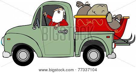 Santa hauling his sleigh