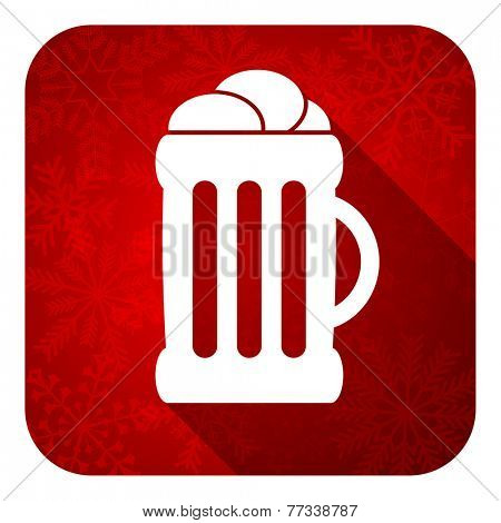 beer flat icon, christmas button, mug sign