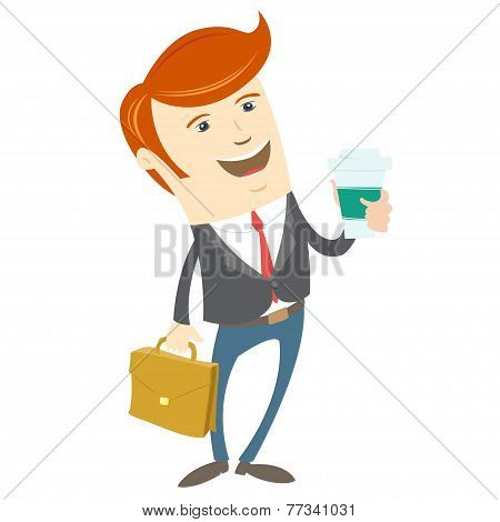 Hipster office man holding coffee and brief case. Flat style