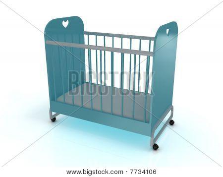 Kinderbett auf Rädern mit einer Matratze