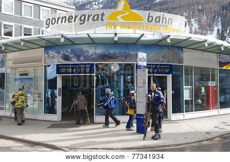 Gornergratbahn train station in Zermatt, Switzerland.