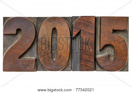 2015  - New Year concept  - isolated text in vintage wood type printing blocks