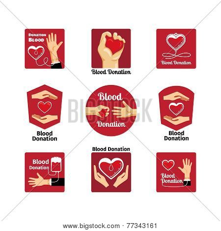 Blood donation labels and badges