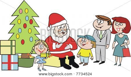 Santa Claus gift cartoon