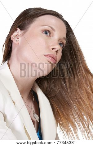 Close Up Of A Beatuiful Woman - Isolated Background