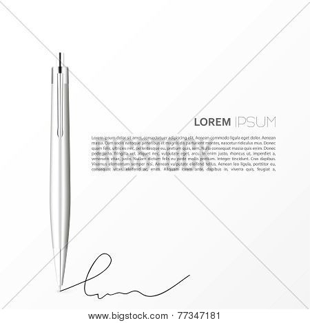 Silver Ballpoint Pen isolated on white