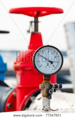 Manometer, Red Valve On Hot Pipe