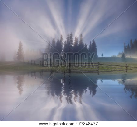 Amazing Misty Sunrise Over The Forest Lake. Ukraine. Carpathian Mountains.