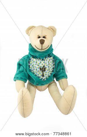 Stuffed Soft Sitting Toy Bear Isolated Over White Background